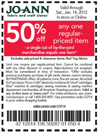 printable joann fabric coupons 2012 50 off one regular priced item at joann s kroger krazy