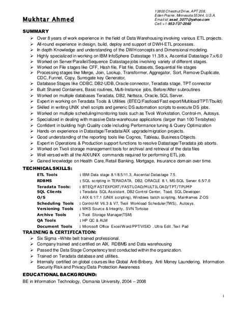 Etl Developer Resume by Mukhtar Resume Etl Developer