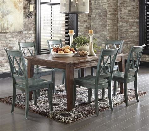 Mestler Dining Table by Mestler 7 Table Set With Antique Blue Green Side