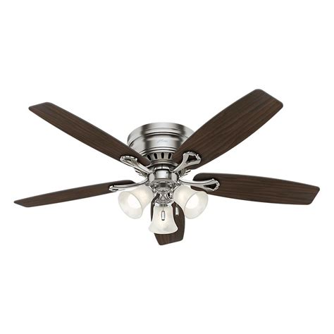 Hunter Oakhurst 52 In Led Indoor Low Profile Brushed Nickel Ceiling Fans With Lights