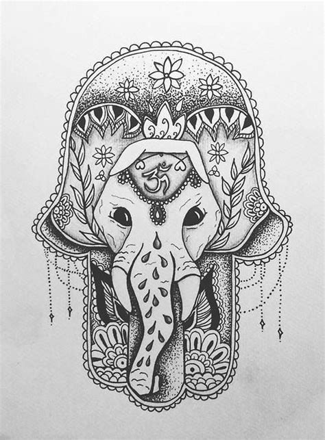 ganesha tattoo finger hamsa and an elephant bellissimo i l l u s t r a t i