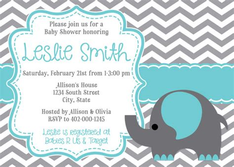 baby shower invites elephants elephant chevron baby shower invitation