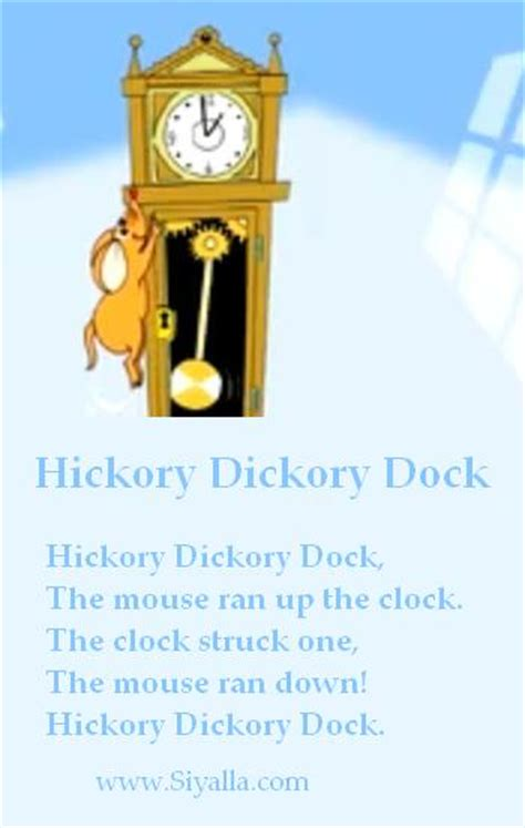 hickory dickory dock nursery rhymes kids poems poems  kids  kids poems collection