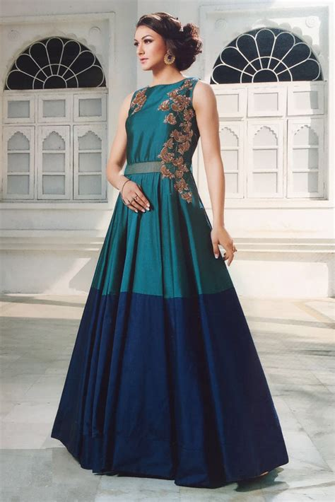 Wedding Wear Gowns by Tapeta Silk Wedding Wear Gown In Blue Colour