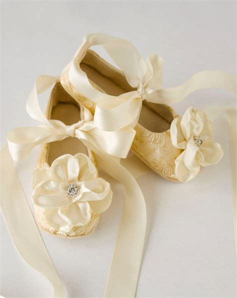 ivory slippers wedding gold toddler ballet slippers flower shoes in gold