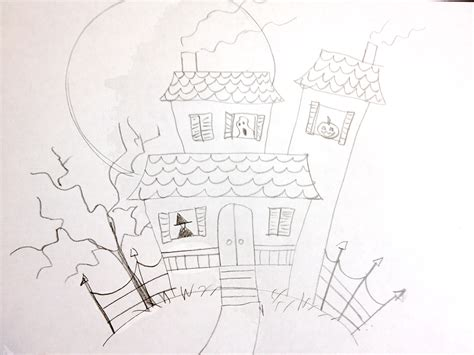 how to draw a haunted house manelle oliphant illustration how to draw a haunted house very easy manelle