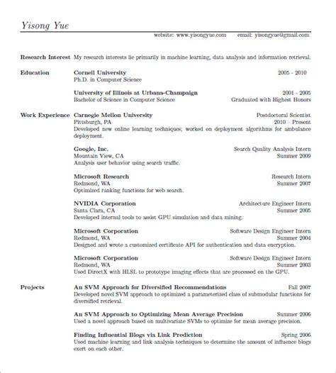 15 latex resume templates free sles exles