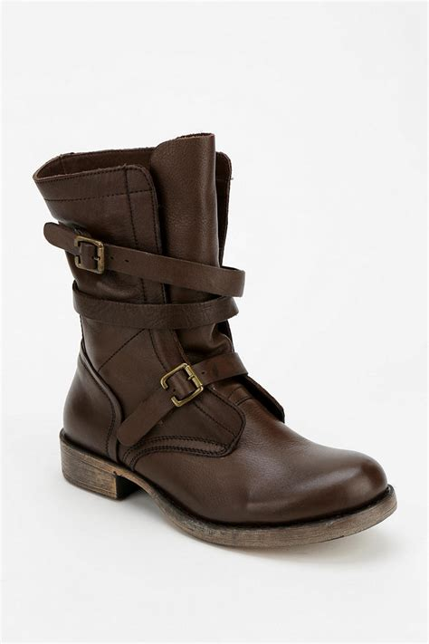 womens brown moto boots urban outfitters diba jetway moto boot in brown lyst