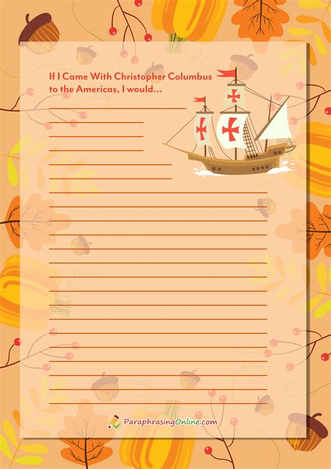 Thanksgiving Writing Paper Template by Engaging Thanksgiving Writing Prompts For Middle School