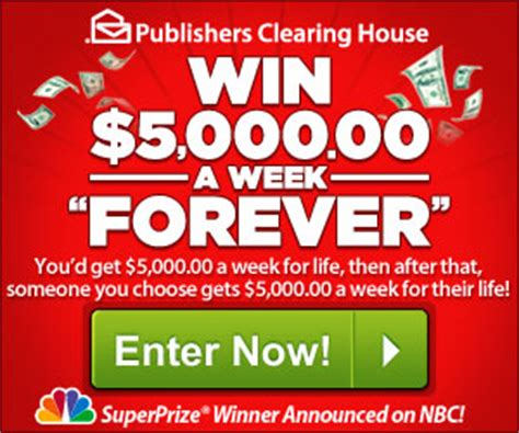 Pch Com Sweepstakes And Win - enter the publishers clearing house 5000 a week for life