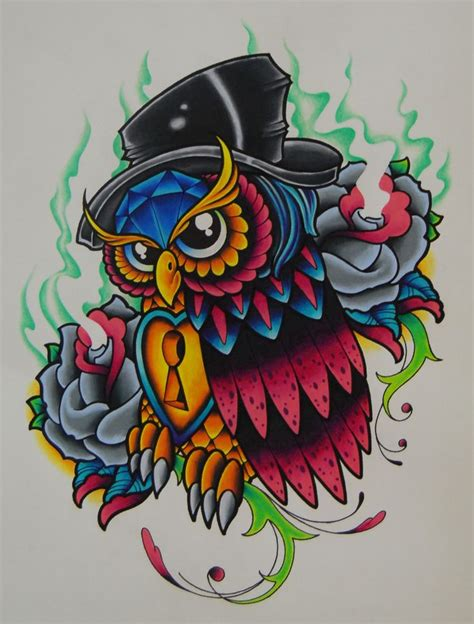 new school tattoo design new school owl tatoo new school owl