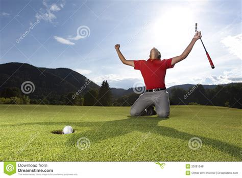 happy golf player  geen stock photo image  game