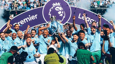epl news man city manchester city lift premier league trophy as huddersfield