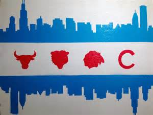of chicago colors chicago flag skyline sports painting on canvas