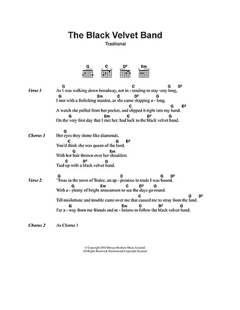 black velvet lyrics the black velvet band sheet music by irish folksong