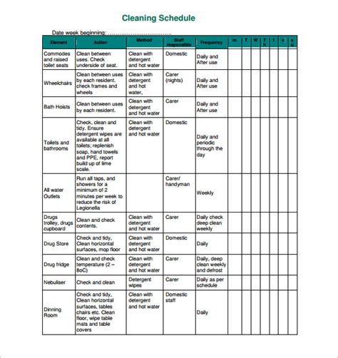 cleaning schedule template 30 free word excel pdf