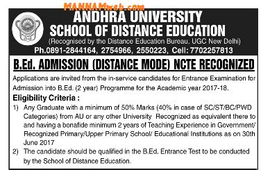 Andhra School Of Distance Education Mba by Andhra Distance Education Bed Admission
