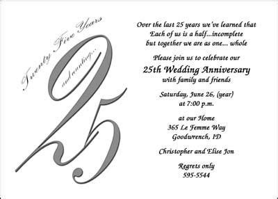 anniversary party invitations   25th Wedding Anniversary