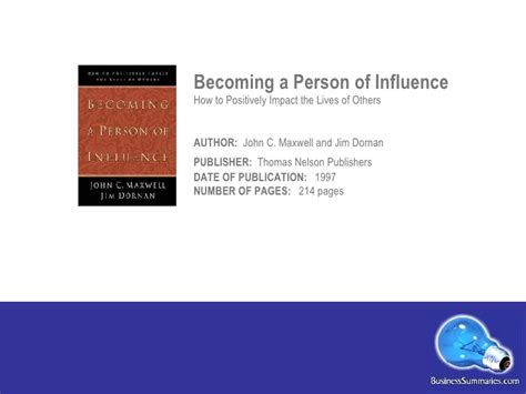 Becoming A Person Of Influence C Maxwell Jim Dornan becoming a person of influence