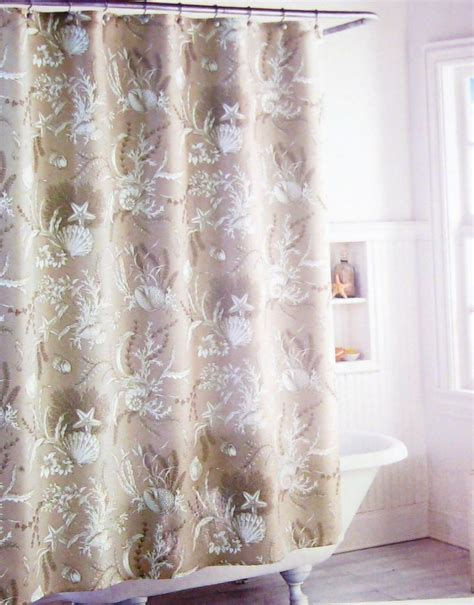 coastal collection shower curtain coastal collection fabric shower curtain shells floral