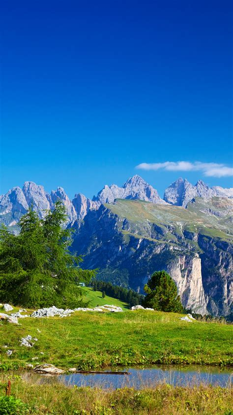 wallpaper alps mountains sunny day italy  nature