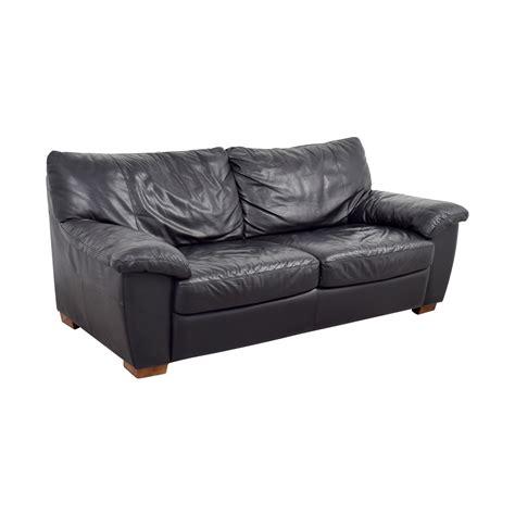 ikea ikea black leather  cushion couch sofas