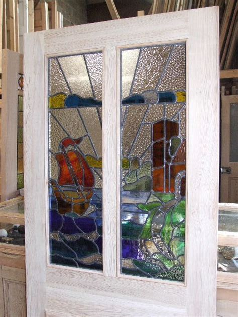 The Stained Glass Doors Company Stained Glass Sailboat Design Front Door Stained Glass Doors Company