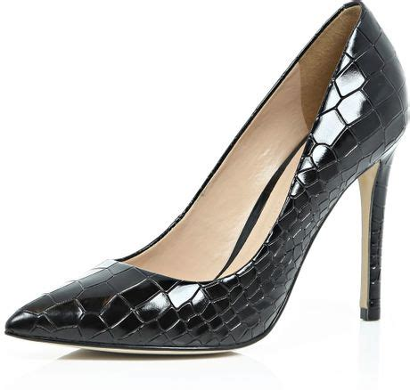 River Islands Patent Leather Cut Out Court by River Island Black Patent Leather Croc Court Shoes In