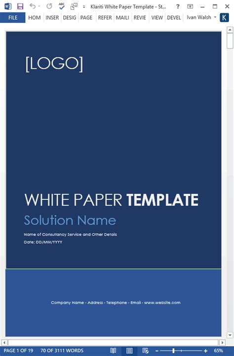 White Papers Ms Word Templates Free Tutorials White Paper Template Microsoft Word