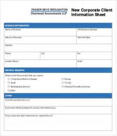 New Client Template by Client Information Sheet Template 9 Free Word Pdf