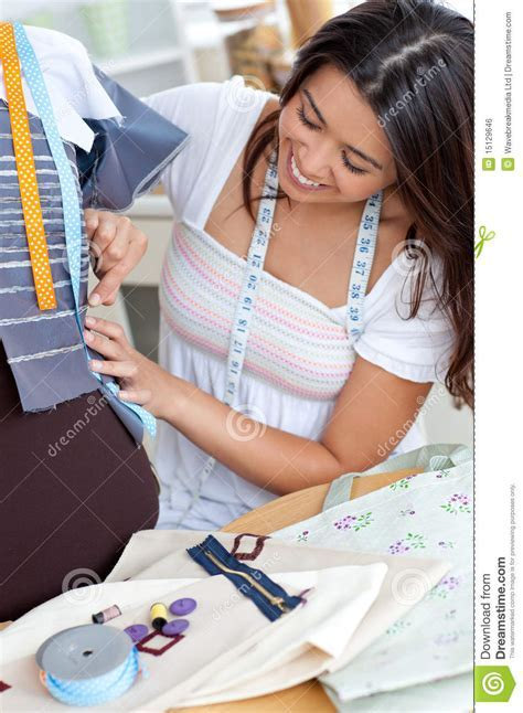 Glad Asian Woman Sewing Royalty Free Stock Image   Image