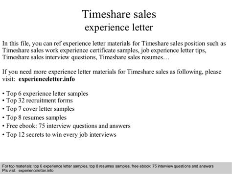 Experience Letter Model Sle Timeshare Sales Experience Letter