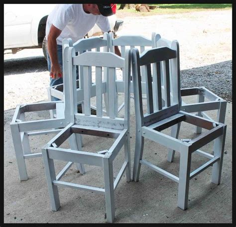 tree bench made from kitchen chairs hometalk