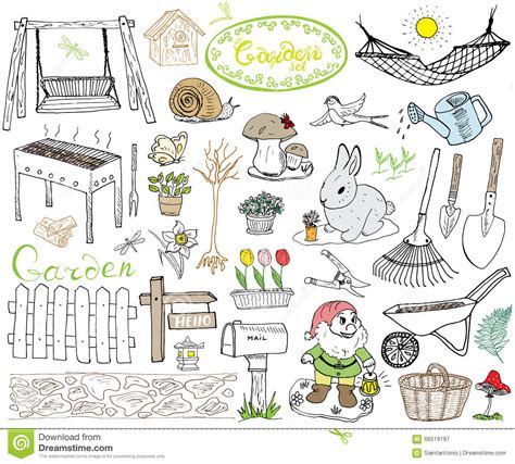 doodle how to make tools garden set doodles elements sketch with