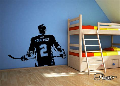 sports wall stickers for bedrooms wall custom large hockey player choose jersey name