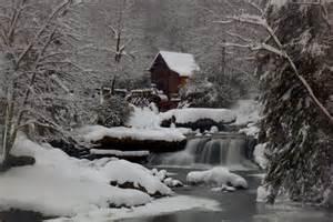 file wv gristmill waterfall creek winter snow pub west
