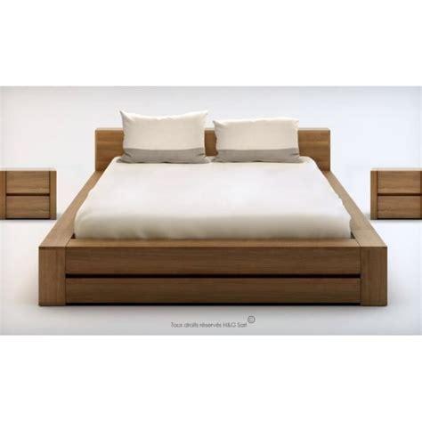 lit 2 personnes bois massif design lounge 160x200 noyer