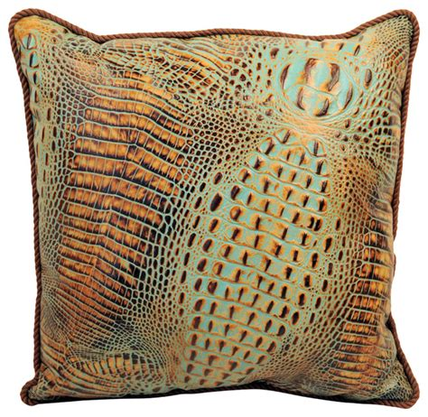 Throw Pillows For Leather by Alligator Print Leather Pillow Transitional Decorative