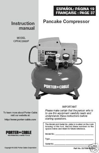 porter cable air compressor instr manual cpfac2600p ebay