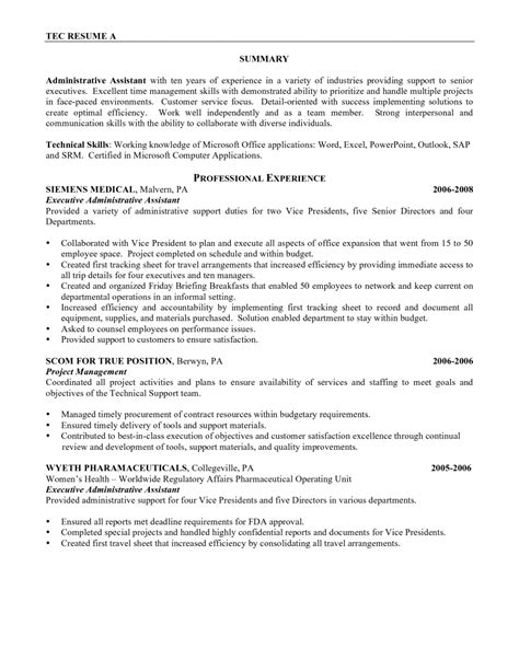 cover letter sles for receptionist administrative assistant administrative assistant resume career summary krida info