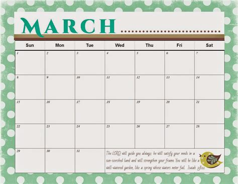 Calendar March 2015 Printable The Blogging Pastors Printable March Calendar 2015