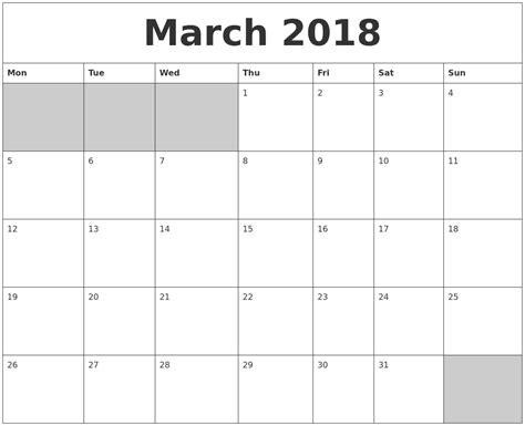 printable calendar blank 2018 march 2018 blank printable calendar