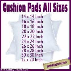 Cushion Size Scatter Cushion Pads Inserts Fillers Inners All Sizes Ebay