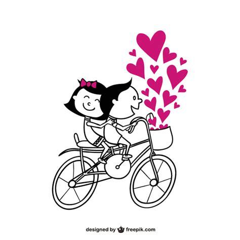 imagenes romanticas de parejas en bicicleta pareja rom 225 ntica en bicicleta descargar vectores gratis