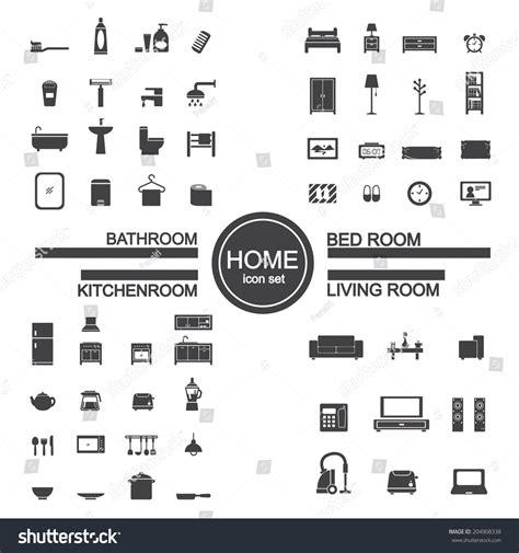 living room bedroom bathroom kitchen living room bedroom kitchen bathroom icon stock vector