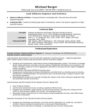 resume of software architect 28 images software