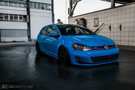 volkswagen golf blue blue vw golf gti with air suspension and rotiform wheels