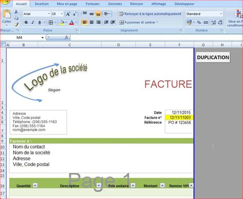 exemple facture excel 2007