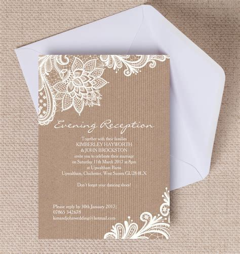 Top 10 Printable Evening Wedding Reception Invitations