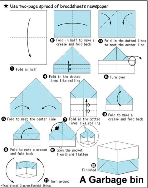 Origami Container - origami garbage bin tutorial on folding a plant container